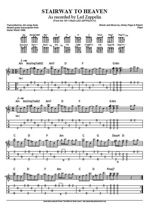 """Stairway To Heaven"" by Led Zeppelin Ukulele Tabs on UkuTabs"