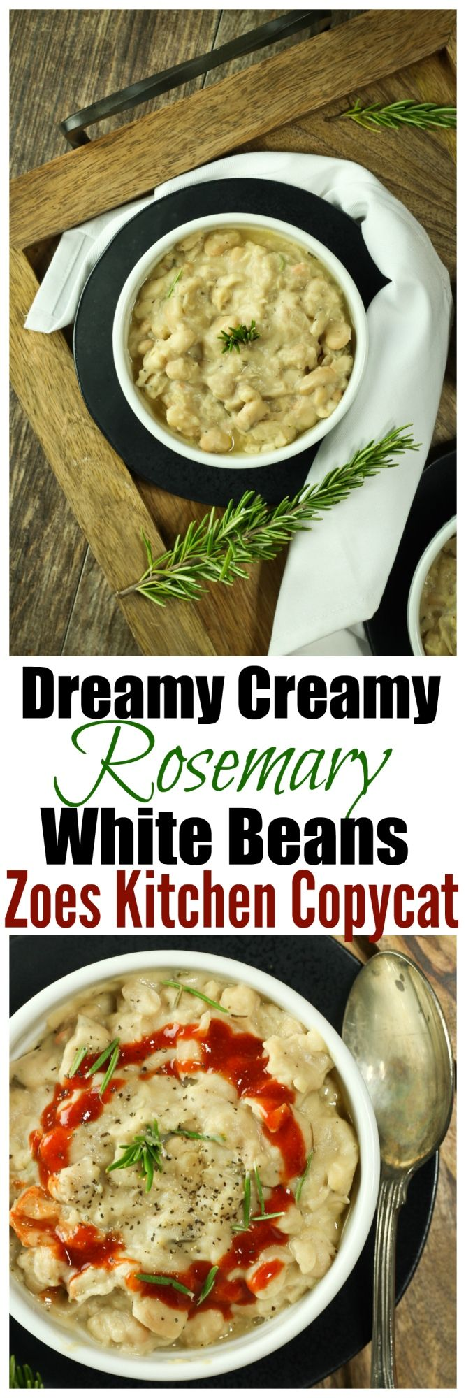 "Dreamy Creamy Rosemary White Beans REMAKE from the super popular ""Braised White Beans"" from Zoes Kitchen! BUT made so much healthier without any oil!"