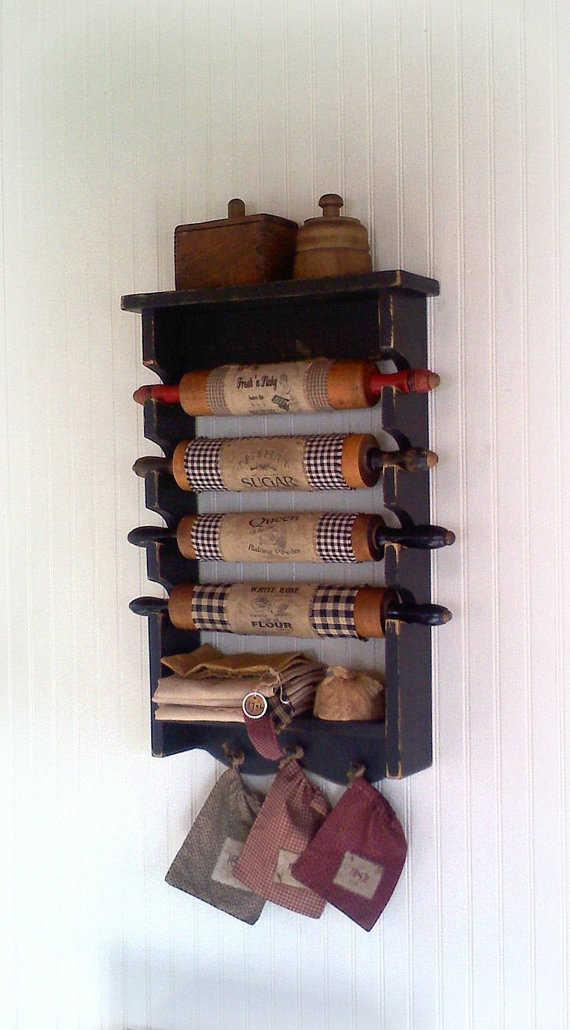 Primitive Rolling Pin Rack with Pegs Wooden by FirecrackerKid, $25.00