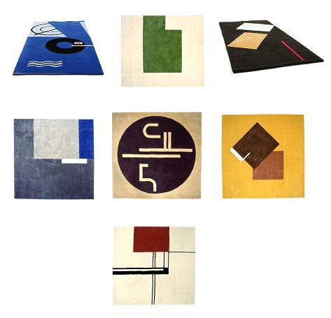 Here are seven handmade rugs designed by Eileen Gray.  Each rug has a different pattern and the material used to make these rugs is wool.