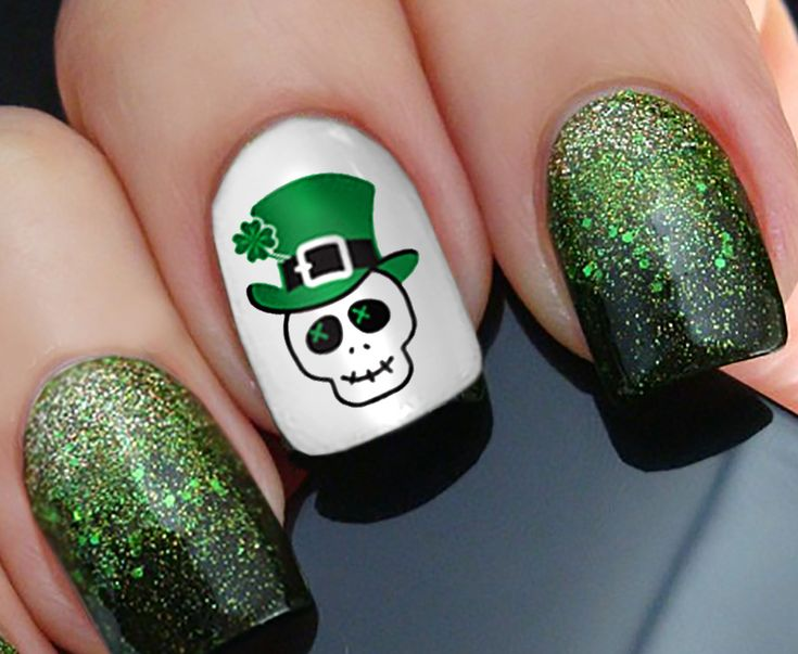 St. Patrick's Day (Luck of the Irish) waterslide nail decals assortment. Saint Patty's is a fantastic holiday and deserves all the festivity you can conjure up. Designs include Skulls, Celtic crosses,