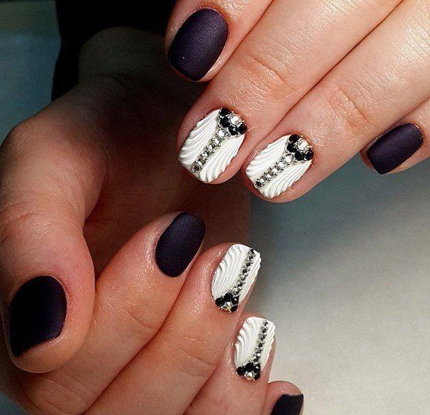 3d nails, Black nails with rhinestones, Dimension nails, Evening dress nails…