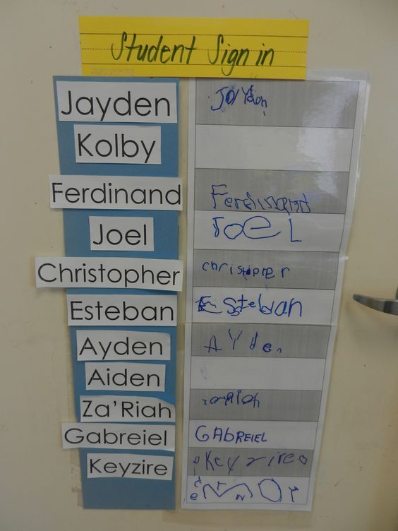 Student Sign in - Have the children sign their names each day as they enter the…
