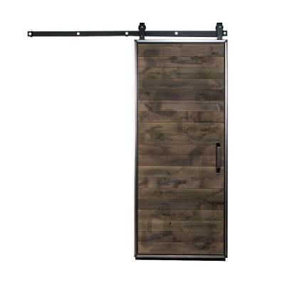 Rustica Hardware 42 In X 84 In Mountain Modern Wood Barn Door With Sliding Door Hardware Kit