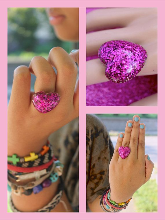 Sweetheart Resin Glitter Adjustable Rings Handmade by tranquilityy
