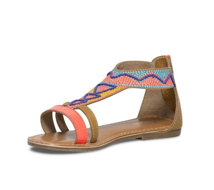 Sandale cuir brodée multicolore - Chaussures fille - Chaussures enfant