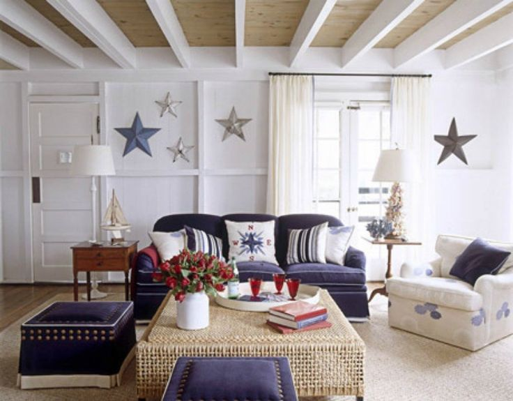 Blue And White Nautical Living Room Stars Compass Design