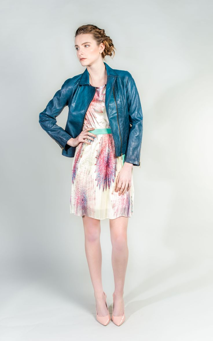 Blue Jacket Fabulous Biker Style Jacket in Faux Leather  #Biker #Jacket #BlueJacket #WantHerDress