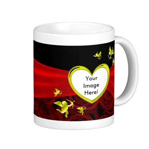 Valentines Day Gold Heart Cupid Red Roses Photo Mugs - This valentines day mug has a gold frame in which to place a picture of your boyfriend, girlfriend, husband or wife. It is surrounded by cupids and is decorated with red curtains draped across from the heart outwards on a split black and dark roses background. This would make a romantic, special and personal Valentines Day gift.