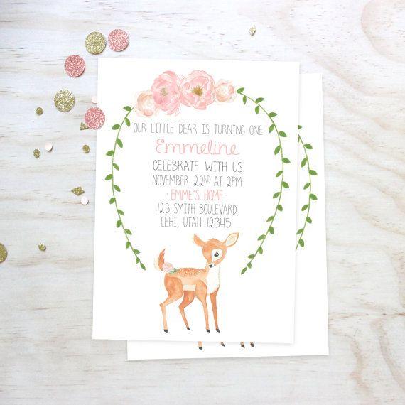 Little Deer Floral Birthday Invitation  by StarandArrowDesigns