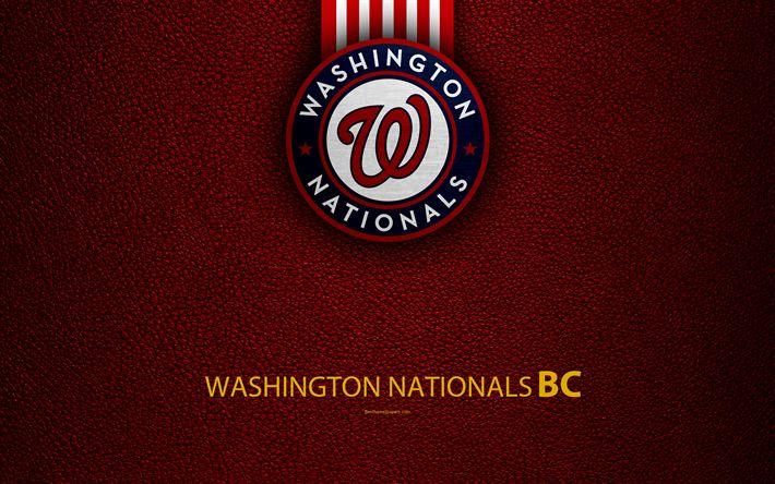 壁紙をダウンロードする ワシントンの人, 4k, アメリカ野球クラブ, 革の質感, ロゴ, MLB, ワシントン, 米国, メジャーリーグベースボール, エンブレム
