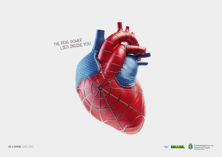 """The real power lies inside you .Be a donor. Save lives.""  「あなた自身も気づいていない""あなたの内""(臓器)には、超人的な力で窮地にいる人を救い出すことができるスーパーヒーローと同じように、""秘められた力""があるんですよ!だから、是非ドナー登録をお願いします」"