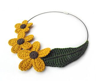 Collar crochet collar de fibra crochet colgante por GiadaCortellini