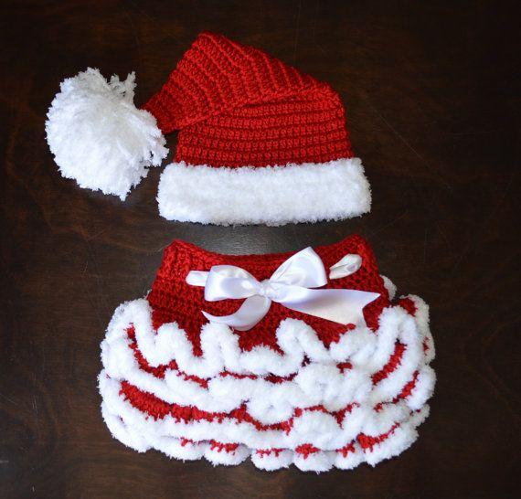 Santa Hat & matching Tutu Handmade Crochet Baby by CubbyCreations