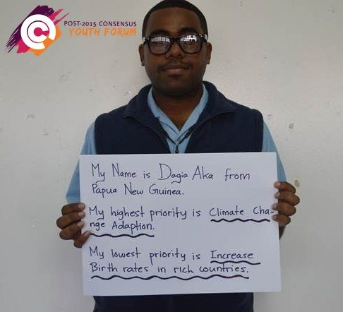 Meet Dogia a participant of our youth forum in Papua New Guinea. After learning more about the costs and benefits of the proposed targets for the post-2015 development agenda, he ranked 'climate change adaption' as his top priority. A low priority for Dogia is 'increase birth rates in rich countries.'