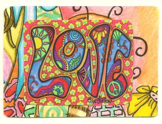 Psychedelic Hippie Art | Psychedelic Love Singleton Hippie Art The ACEO by justgivemepeace
