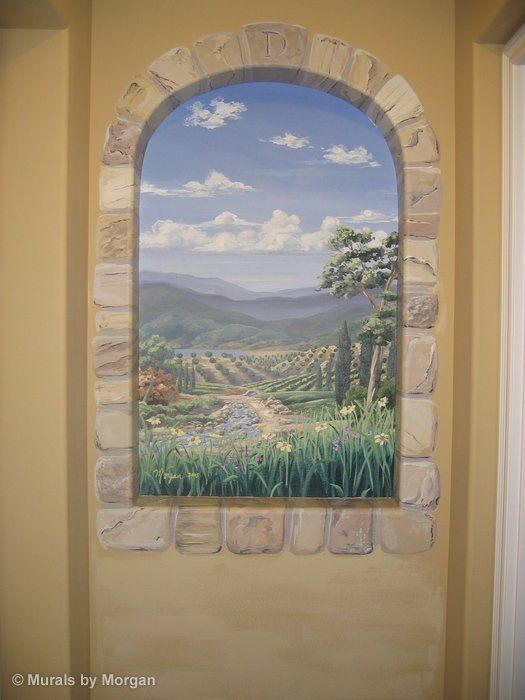 Italian Countryside Wall Niche Mural. Painted ... Part 54