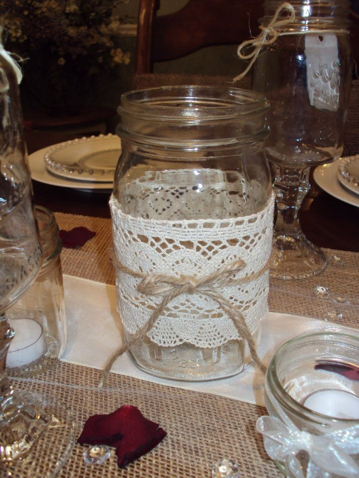 Lace and twine - mason jar decoration ideas.