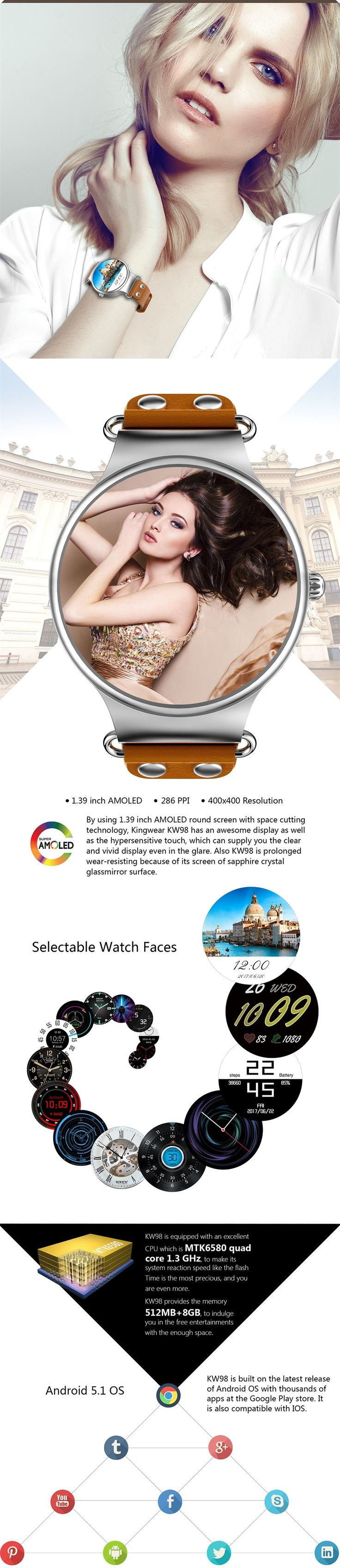 KINGWEAR KW98 MTK6580 1.39 Inch AMOLED HD 8GB WiFi GPS Heart Rate Android 5.1 Smart Watch Phone  #smartphones #cellphones #tablet #computer #technology #accessories #smartwatch
