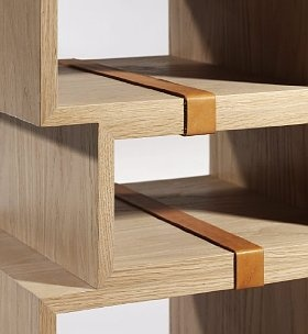 leather detail on shelving