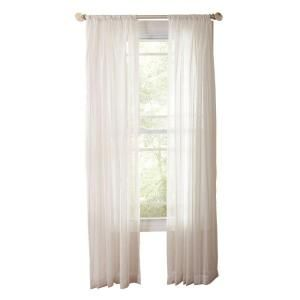 Martha Stewart Living Pure White Sheer Stripe Rod Pocket Curtain 95 In Leng
