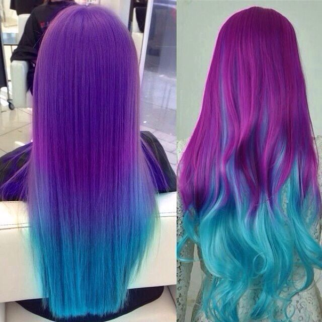 Red Purple and blue colorful Ombre Hair Color, no matter straight or wavy hairstyle are both beautiful, mermaid hair color~