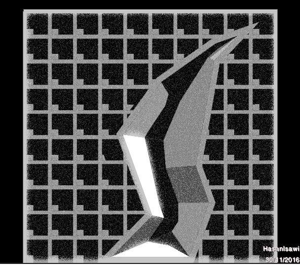 facciata con incavo a falde piane a pendenza costante rispetto al piano frontale