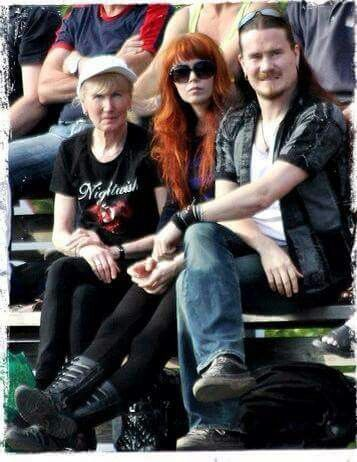 Tuomas with mother and fiance johanna kurkela -Cute how his mum wears a Nightwish tee ..