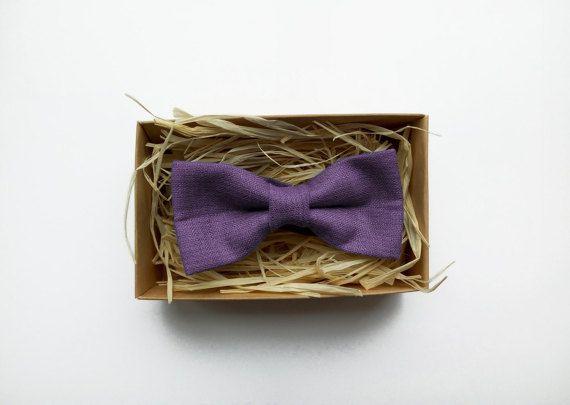 Linen Bow tie Dark lavender bow tie dark purple by ArtOfLithuania