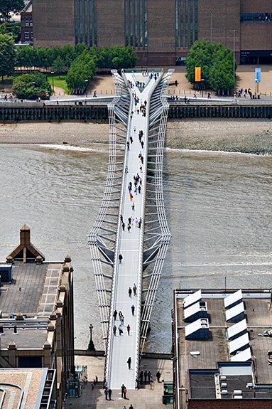 Aerial view of the Millennium Bridge between St. Paul's Cathedral and the Tate Modern in London.