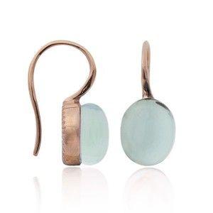 Komplet srebrny biżuterii na wiosnę z seledynowym kamieniem