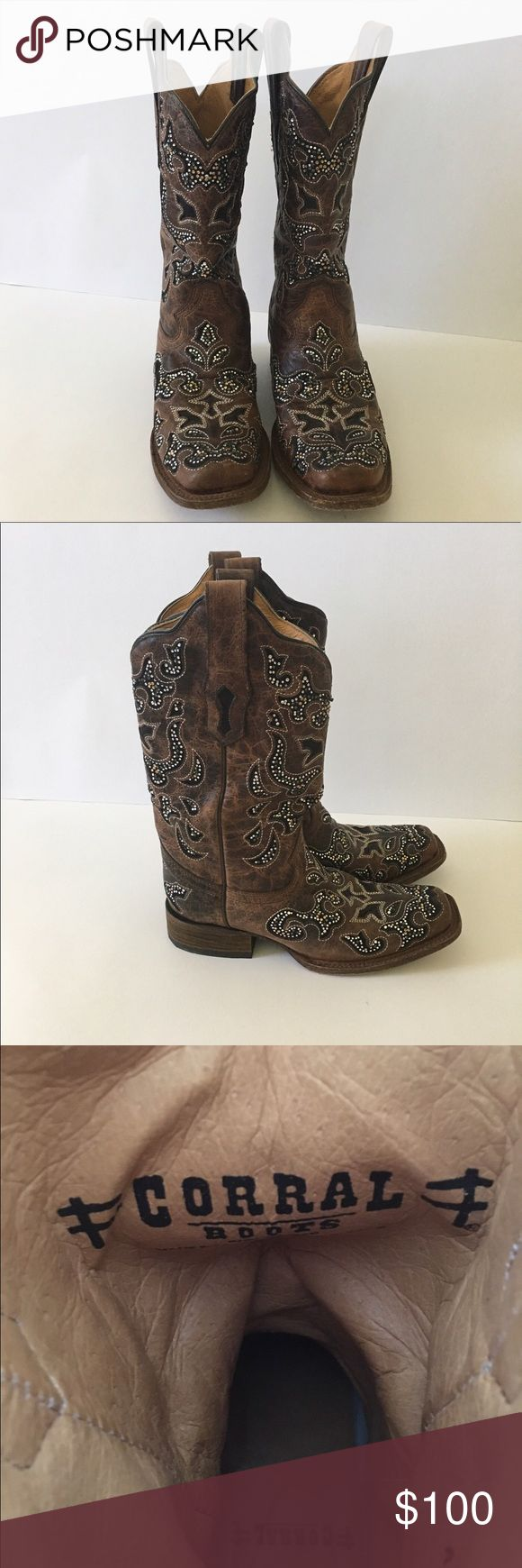 Women's Boots Genuine leather Corral Boots from Buckle, brown with black sued inlays trimmed in crystal, gold and black stones, so beautiful 😍 corral Shoes Heeled Boots