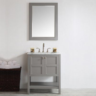 "Beachcrest Home Caldwell 30"" Single Vanity Set with Mirror Base Finish: Grey"