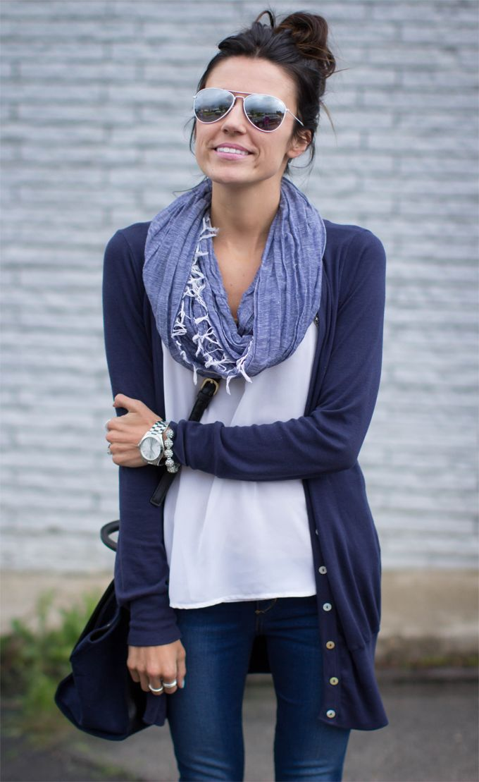 Navy cardigan, blue scarf, white tee, simple outfit