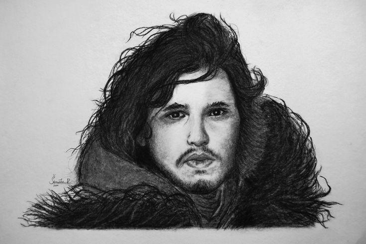 Kresba postavy ze známého seriálu Hra o trůny (Jon Snow) | formát A3 | kresba uhlem
