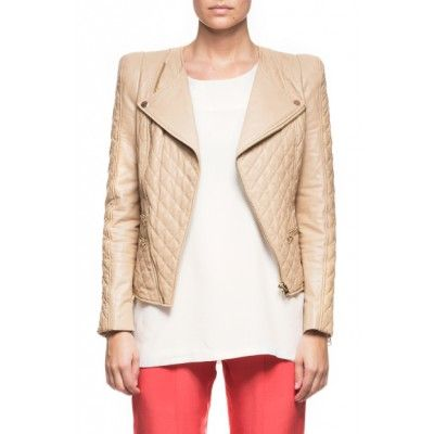 By Malina - Jade Quilted Leather Jacket Sand - Kotyr.com