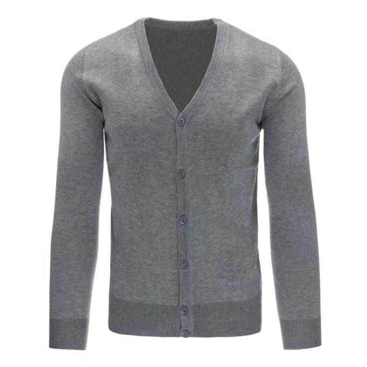 Pohodlný pánský rozepínací svetr do v šedý