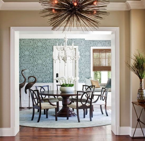 funky dining rooms | Graceful sculptures, a funky chandelier, and graphic ...