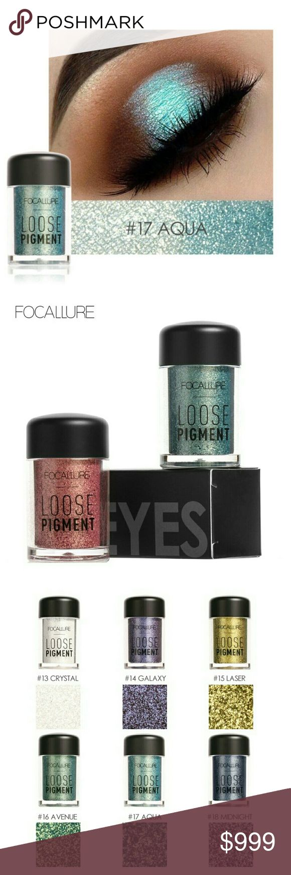 : JUST IN : FOCALLURE Glimmer Eye Powder #17 Aqua FOCALLURE Loose Pigment Eye Shadow gives your eyes extra sparkle & dimension with a highly pigmented metallic texture! A concentrated powder that contains ingredients to help adhere to skin. Create a subtle wash of color or an intense effect. Does not streak or cake, long-lasting!   Also available in: Brown Blue & Rose Gold. See separate listings.  Net Wet:4.5g/.15oz Package contains 1 Eye Shadow Color: #17 Aqua  Please feel free to ask…