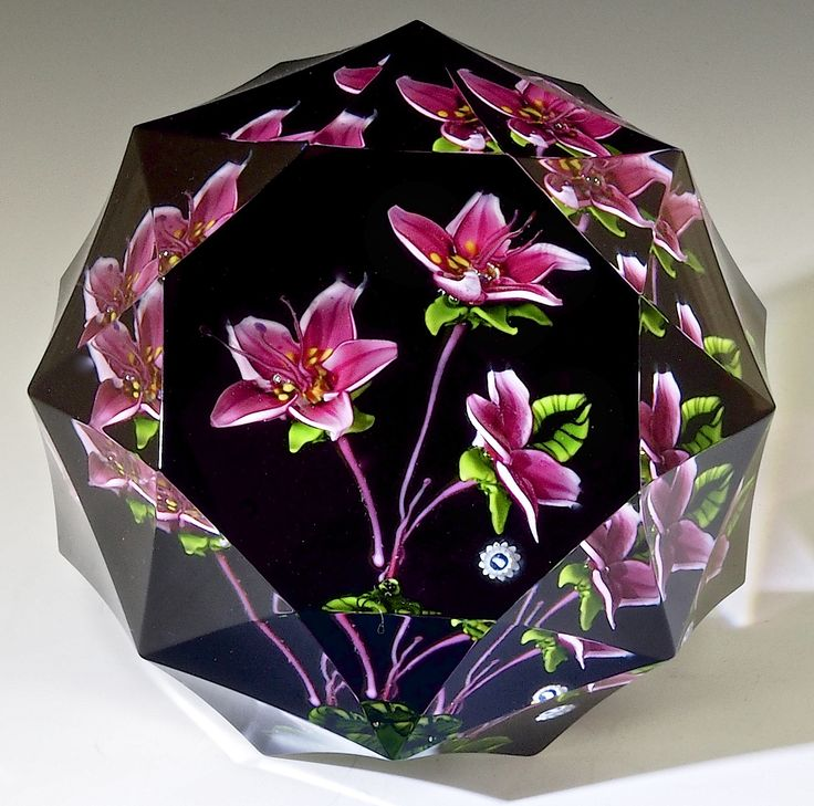 "Whitefriars {Caithness Era - Scotland } paperweight by Alan Scott - ""Pink Rhododendrons"", 2 3/4""w x 2 1/4""t, 15.23 oz. - #0708"