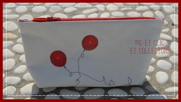 """Trousse en toile enduite """"ballon rouge"""" : Trousses par pic-et-clic-et-collectons"""