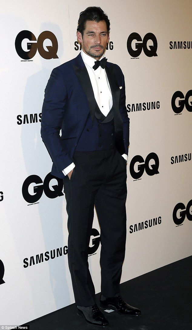 Looking good: Gandy, 34, opted for a blue dinner jacket and matching waistcoat teamed with a pair of black dress trousers and highly polished shoes for his night out at the annual event on Tuesday evening