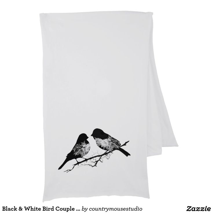 Black & White Bird Couple Lovebird Scarf