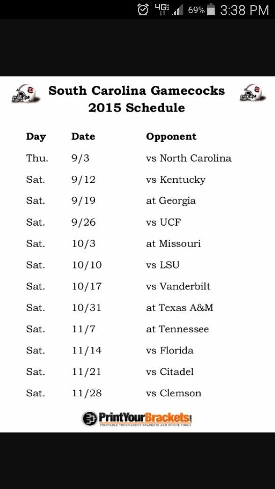 2015 GAMECOCKS schedule