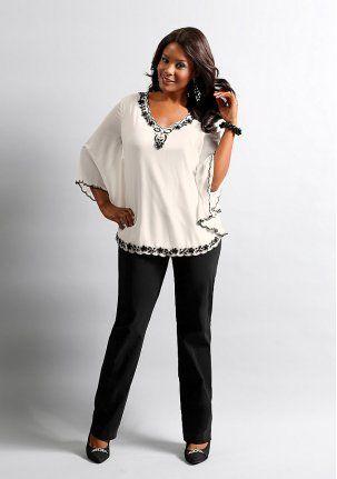 Блузка - http://www.quelle.ru/BigsIzes_fashion/Women_blouses/Woman_Blouses/Bluzka__r971400_m267071.html?anid=pinterest&utm_source=pinterest_board&utm_medium=smm_jami&utm_campaign=board5&utm_term=pin46_09042014 Блузка летучая мышь из полупрозрачного жоржета, на непрозрачной подкладке, рукава без подкладки. Благородно украшена вышивкой у V-образного выреза, на рукавах и вдоль закругленного нижнего края. #quelle #big #size #blouse #style #fancy