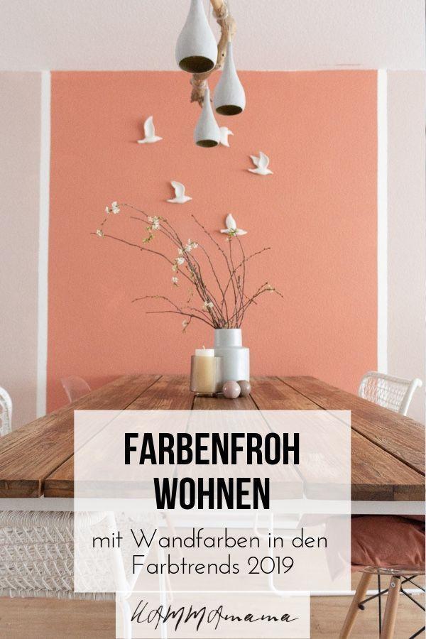 Farbenfroh Wohnen Wandfarben Im Esszimmer In Den Interior Farbtrends 2019 Living Coral Blush Farbtrends Wandfarbe Esszimmer Farbe