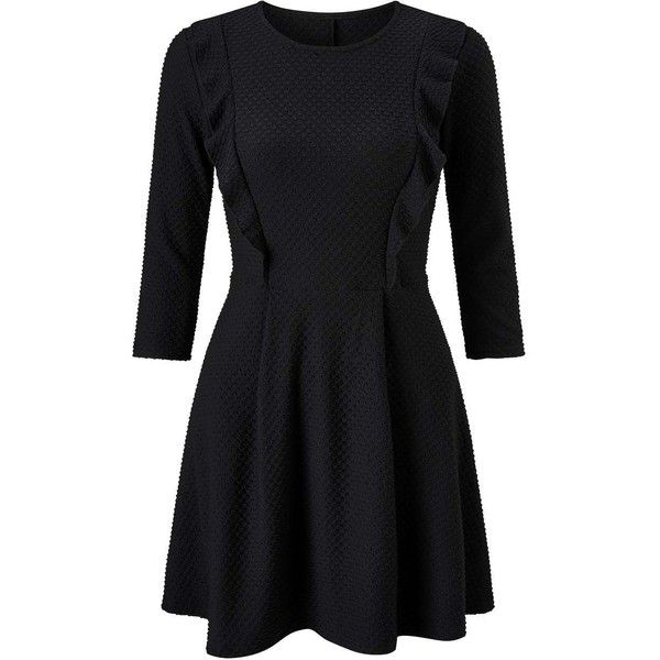 Miss Selfridge PETITE Black Skater Dress found on Polyvore featuring dresses, black, petite, ruffle dress, frill dress, miss selfridge dress, skater dress and flutter-sleeve dress