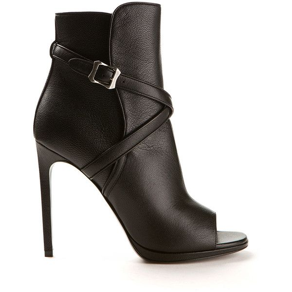 Saint Laurent Jane Black Grained Leather Ankle Boots ($970) ❤ liked on Polyvore