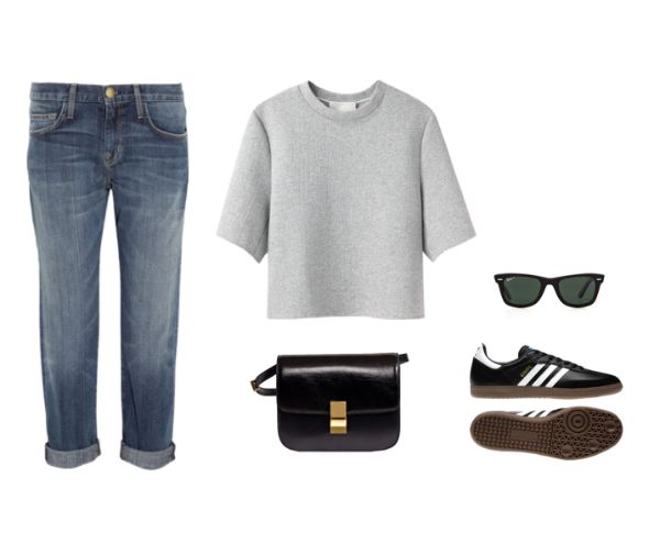 Trini blog | Current Elliot jeans, Phillip Lim top, Adidas Samba sneakers and Celine box