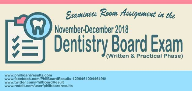 ROOM ASSIGNMENT: Nov - Dec  2018 Dentist Board Exam